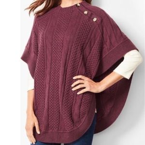 Talbots Cable Knit Speckled Funnel Neck Poncho